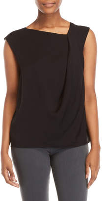 Halston Black Asymmetrical Sleeveless Top