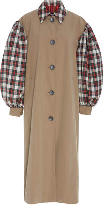 Isa Arfen Paneled Tartan Felt And Cotton-Gabardine Trench Coat