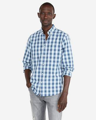 Express Slim Check Soft Wash Long Sleeve Shirt