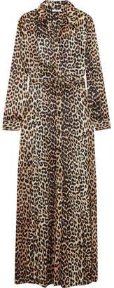 GANNI - Dufort Leopard-print Silk-blend Satin Maxi Dress - Leopard print