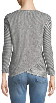 Lilla P 3/4-Sleeve Striped Crossover-Back Tee