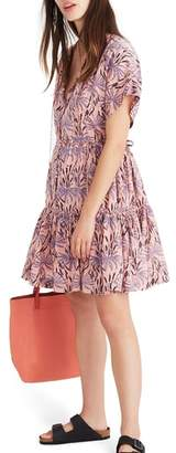 Madewell Oasis Palms Button Front Tiered Dress