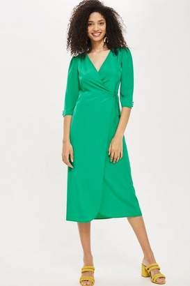 Topshop Crepe Wrap Midi Dress