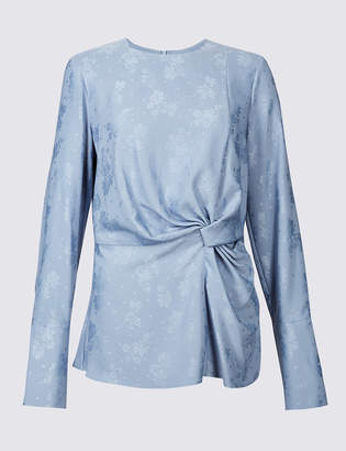 Limited Edition Jacquard Print Knotted Long Sleeve Blouse