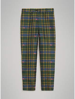 Burberry Equestrian Knight Check Tuxedo Trousers