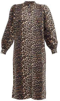 Ganni Leopard Print Denim Dress - Womens - Leopard