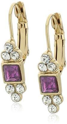 clear 1928 Jewelry Gold-Tone Square with Crystal Accent Petite Drop Earrings