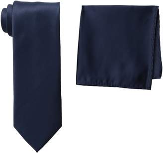 Stacy Adams Men's Tall Plus Size Satin Solid Tie Set Extra Long