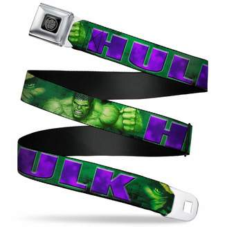 """Ash Buckle Down Buckle-Down Men's Seatbelt Belt XL Hulk face Close/up/Action Pose Greens/Purple 1.5"""" Wide-32-52 Inches"""