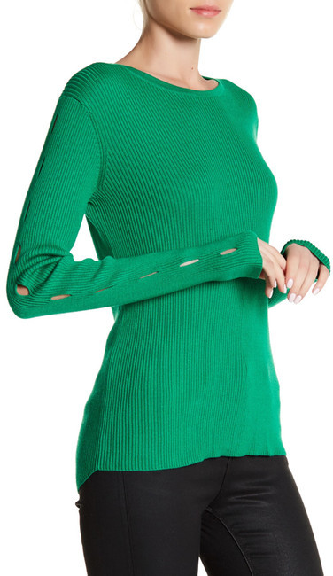 Cullen Rib Crew Cutout Sleeve Sweater
