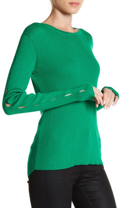 Cullen Rib Crew Cutout Sleeve Sweater $141.60 thestylecure.com