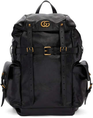 Gucci Black Multi Pocket Flap Backpack