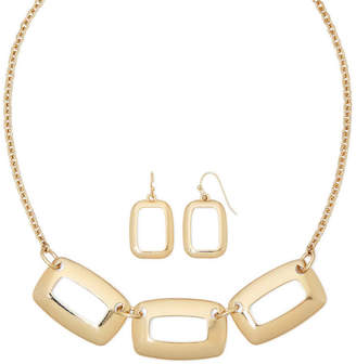 Liz Claiborne Open Rectangle Earring and Necklace Set