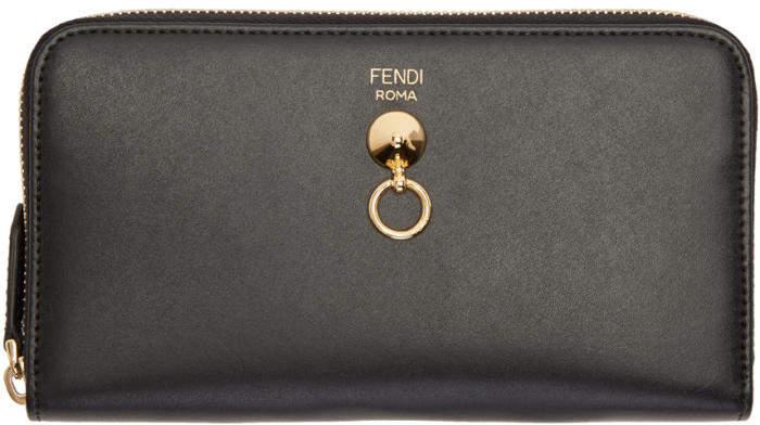 Fendi Black Conical Stud Zip Around Wallet