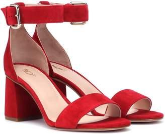 Red (V) RED (V) suede block heel sandals