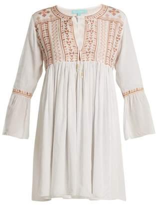Melissa Odabash Natalia Embroidered Tie Neck Mini Dress - Womens - White