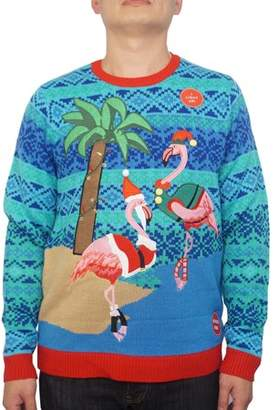 Holiday Men's Light Up Warm Flamingos Ugly Christmas Sweater, Up to size 2XL