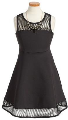 Girl's Iris & Ivy Mesh Scuba Fit & Flare Dress $46 thestylecure.com
