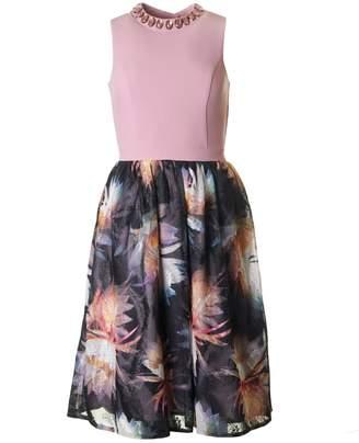 Bourne Jewel Neck Floral Full Skirt Dress