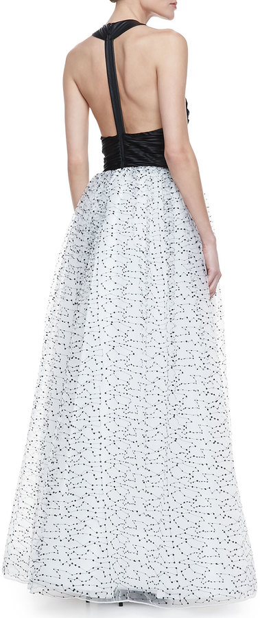 Alice + Olivia Ecenia Halter-Style Gown