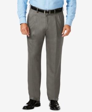 Haggar J.m. Big & Tall Classic Fit Stretch Sharkskin Pleated Dress Pants
