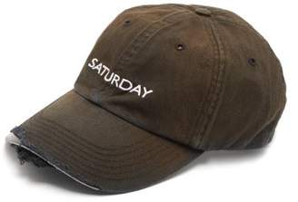 Vetements Saturday Embroidered Cotton Cap - Mens - Black