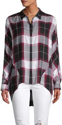 Pure Navy Plaid High-Low Button-Down Shirt