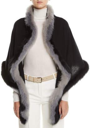 Loro Piana Oval Cashmere Shawl w/ Fur Trim