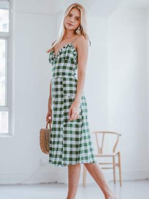Goodnight Macaroon 'Alline' Green Gingham Button Front Frilled Midi Dress