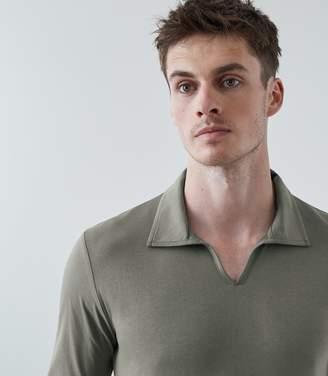 Reiss Freckleton Long Sleeved Open Neck Polo Shirt