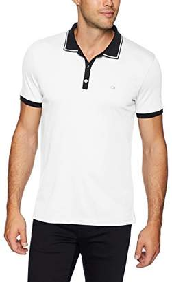 Calvin Klein Men's Short Sleeve Polo Shirt with Jacquard Front and Tipping