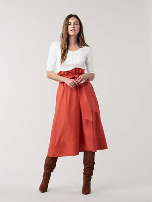 Diane von Furstenberg Maggie Cotton Belted Midi Skirt