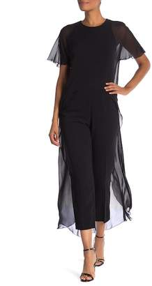 Trina Turk Capote Sheer Overlay Cape Jumpsuit