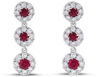 14k White Gold Natural Diamond & Ruby Halo Drop Earrings