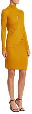 Roberto Cavalli Wool Blend Turtleneck Sheath Dress