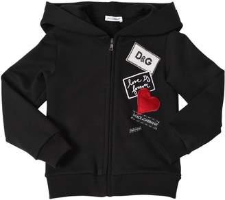 Dolce & Gabbana Hooded Cotton Sweatshirt W/ Patches