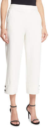St. John Stretch Double Knit Wide-Leg Capri Pants w/ Button Cuffs