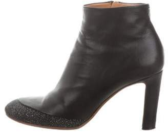 Maison Margiela Leather Round-Toe Ankle Boots Black Leather Round-Toe Ankle Boots