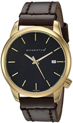 Momentum Women's Quartz Watch | Logic 36 by |IP Gold Stainless Steel Watches for Women | Sports Watch with Japanese Movement & Analog Display | Water Resistant Women's watch with Date – Black / Brown Leather