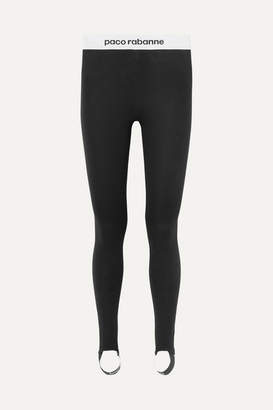 Paco Rabanne Printed Stretch-jersey Stirrup Leggings - Black