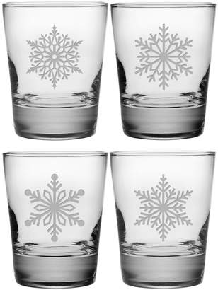 Susquehanna Glass Set Of Four 13.25Oz Paper Snowflakes Heavy Base Double Old Fashioned Glasses