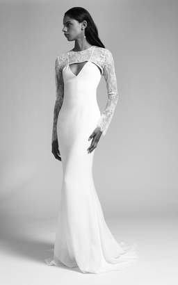 Cushnie Bridal Cindy V Neck Silk Gown With Lace Bodice