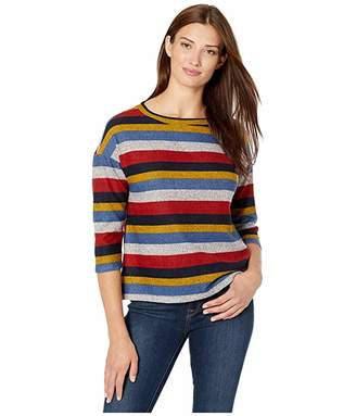 Tribal 3/4 Sleeve Boat Neck Wide Top