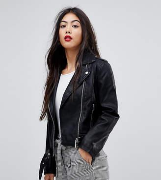 Miss Selfridge Petite Leather Look Biker Jacket