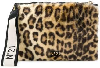 No.21 leopard print clutch bag