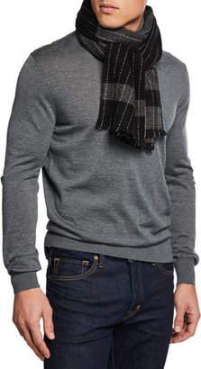 Neiman Marcus Men's Lightweight Cashmere Pinstriped Scarf