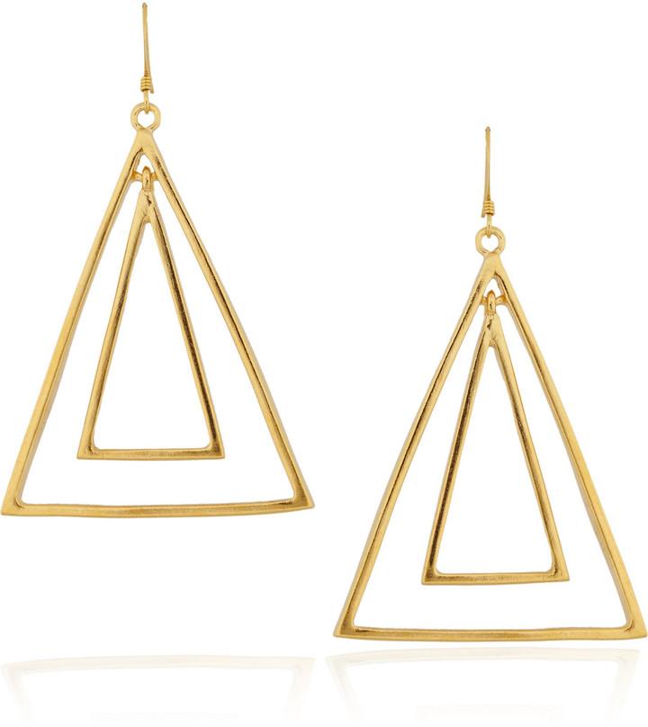 Kenneth Jay Lane 22-karat gold-plated triangle earrings