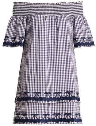 Bliss and Mischief Off The Shoulder Gingham Cotton Dress - Womens - Blue White