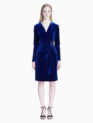 Calvin Klein velvet v-neck faux wrap ruched dress