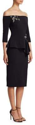 Theia Off-The-Shoulder Peplum Ruffle Dress